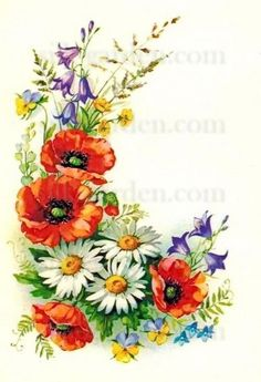 Drucken Sie im Silk Garden Online-Shop,post_tags] Vintage Flower Tattoo, Vintage Flowers, Tole Painting, Fabric Painting, Art Aquarelle, Floral Drawing, Botanical Flowers, Texture Painting, Vintage Cards