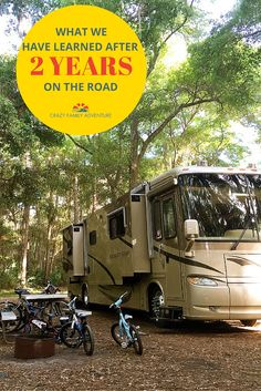 14 things we have learned from living, traveling, and working full-time in our RV with our 4 kids and 2 dogs.