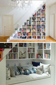 Home library basement bedrooms 50 Ideas for 2019 Foyer Design, House Design, Staircase Storage, Stair Storage, Pinterest Home, Home Libraries, Basement Bedrooms, Trendy Home, Basement Remodeling