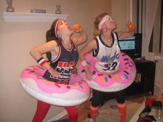 The 16 Best Halloween Pun Costumes- These Dunkin Donut supporters, dressed head to toe in basketball gear, are ready for a slam dunk. And possibly a pumpkin flavored donut while they're at it. Find out how you can rock an inflatable pink tube around your waist and learn more creative pun costume ideas at Redbookmag.com.