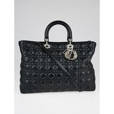 Pre-owned Christian Dior Black Cannage Quilted Lambskin Soft Lady Dior... (8.440 RON) ❤ liked on Polyvore featuring bags, handbags, tote bags, handbags totes, embroidered totes, vintage tote bags, embroidery tote bags and quilted tote bags