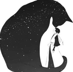 Comics illustration depicting a giant cat-like shape filled with stars, towering over a woman