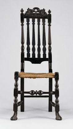William and Mary Style Banister-back chair made of pine.