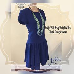 "Drop Waist Dress  2X Host Pick Dress with a drop waist and zippered back. Top of dress is lined.  Great for work or a dinner date. Dress is 95% Polyester, 5% Spandex and the lining is 95% Viscose and 5% Spandex Measurements        Chest  34""        Waist 30""        Length 37"" Kaya & Sloane Dresses Midi"