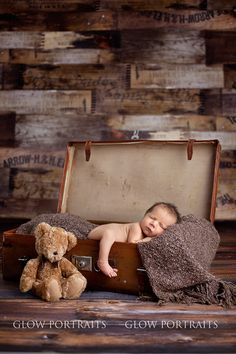 newborn baby boy pose suitcase teddy bear