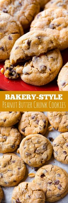 Big peanut butter chunk cookies like you find at a professional bakery! Soft, thick, crinkled, and addicting. Recipe on sallysbakingaddiction.com