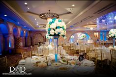 Anoush Catering & Banquet | Glendale | Blue & White Wedding | Wedding Venue | Table Arrangement | R and R Creative Photography | #wedding #photography #white #blue #table #flowers #venue #anoush #banquet #catering #RandRCreativePhotography