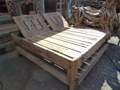 re purposed railroad wood - double sunbed. www.balisourced.com Pallet Garden Furniture, Cool Diy, Play Houses, Outdoor Ideas, Attitude, Garden Design, House Ideas, Gardens, Backyard