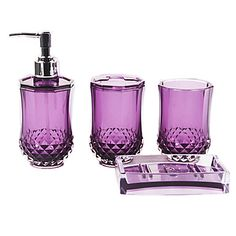Large glass soap dispenser bottle country bathroom decor for Purple glass bathroom accessories