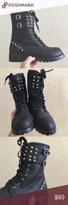 Black studded goth combat boots dollskill unif I purchased them from a Korean wholesale site years ago. They're a size 240 which is a size 7 I believe... They fit me fine and I'm a size 7. Previously owned in good condition, might look super dusty in photos because they've been sitting for years but I'll clean them up before sending them off to their new home. No studs are missing and no scuffs on the boots. There's one small teeny tiny scuff on the sole heel thing but it's not too…