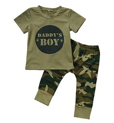 Amazon.com 2 Styles Daddy's Baby Boy Girl Camouflage Short Sleeve T-shirt Tops+Green Long Pants Outfit Casual Outfit (0-6 Months, Baby Boy) #baby #fashion #clothes #outfit #infant #style #girl #boy #mom #warm #gift #babyshower #design #pants #shirt #jacket #clothing #hoodie #shorts #bow #mother #shopping #cute #happy #love #family #children