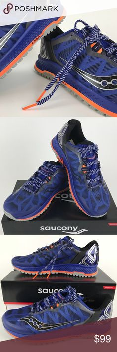 Saucony MENS KOA Trail runner Indigo and orange with designer laces Geometric pattern Spring 2018 Sample model s20390-1 Never worn Without box Bm3 Saucony Shoes Athletic Shoes
