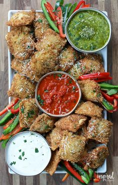 Fried Ravioli with Three Dipping Sauces | Inspired by Charm