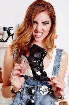 Chiara Ferragni of The Blonde Salad with her hot new shoes from the #SMxBlondeSalad colelction!