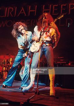 Uriah Heep perform on stage at Hammersmith Odeon, London, 27th October 1974, L-R David Byron, Mick Box.