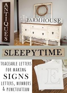 Use these Traceable Letters For Making Signs which includes Letters, Numbers & Punctuation to make farmhouse style signs without the need for stencils! Free printables! http://www.thepaintedhinge.com/2017/03/27/traceable-letters-making-signs-letters-numbers-punctuation/