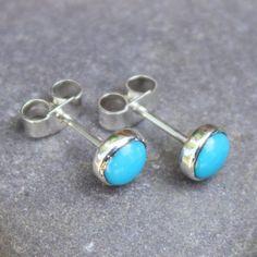 Turquoise stud earrings sterling silver. £20.00