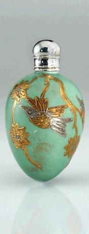 Victorian Silver And Gold Gilt Green Porcelain Egg Scent Perfume Bottle - Probably Continental    c.1870
