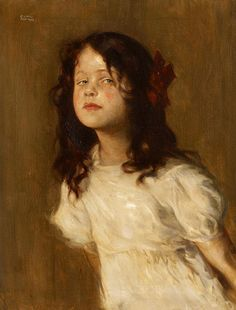 Trudl in a White Dress ~ Portrait of the artist's daughter ~ Carl von Marr - 1856-1936