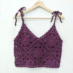 Pull Crochet, Mode Crochet, Crochet Bra, Crochet Shirt, Crochet Crop Top, Crochet Motif, Crochet Designs, Crochet Crafts, Crochet Clothes