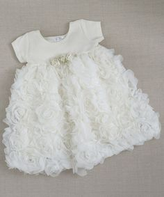 Love this Ivory Chiffon Rosette Dress - Infant & Toddler on #zulily! #zulilyfinds