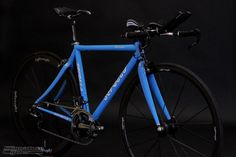 """This is Amy's Serotta Ottrott SE tri bike in the """"Maliblue"""" color. Dura Ace Di2 internal, SRM powermeter, Hed Corsair bars, and Lightweight wheels. Ready for the long haul (Ironman)!"""