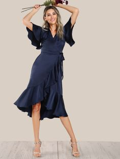 Elegant and Glamorous A Line Plain Fit and Flare Asymmetrical and Flounce V neck Short Sleeve Butterfly Sleeve Natural Navy Midi Length Ruffle Hem Satin Wrap Tie Dress with Belt Navy Satin Dress, Satin Dresses, Wrap Tie Dress, Dress Outfits, Fashion Dresses, Dress Ootd, Frack, Plus Size Kleidung, Mode Inspiration