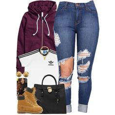 A fashion look from December 2015 featuring adidas t-shirts, H&M jackets and Timberland ankle booties. Browse and shop related looks.