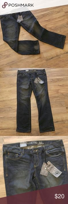 NWT Converse 32 Jane low rise Straight Leg Jeans Slim straight leg fit. Slightly lower rise with straight leg opening. Aged and distressed coloring has faded areas and tan undertones. Converse Jeans Straight Leg
