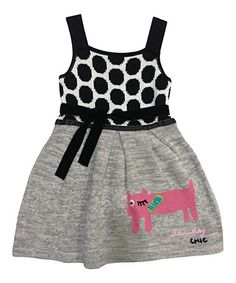 Another great find on #zulily! Gray & Pink Cat Dot Dress - Infant, Toddler & Girls by Lourdes #zulilyfinds