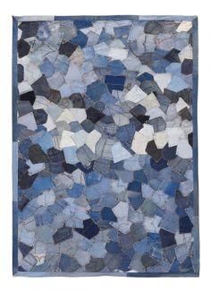 Vloerkleed van gerecyclede jeans-achterzakken – 160x230 cm