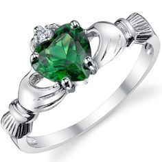 Stelring Silver 925 Irish Claddagh Friendship & Love Ring with Emerald Heart CZ Size 4 Metal Masters - ME WANT!!