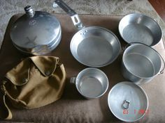 Vintage 7 Piece Set Boy Scout Mess Kit & Canteen, 1960's - Boy Scout Memorabilia