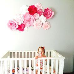 Paper flower wall by PaperFlora Pink Nursery Wall Decor Girls Nursery Decor Ideas