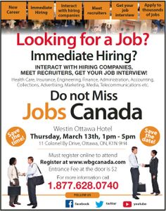 Thousands of jobs, career services, education & training, self-employment, entrepreneurship, immigration, travel and work abroad opportunities. Meet hundreds of recruiters, hiring companies and human resource managers from all sectors of employment, education and training and immigration in Canada. Self Employment, Work Abroad, Looking For A Job, Education And Training, Marketing Jobs, New Career, Jobs Hiring, Human Resources, Health Care