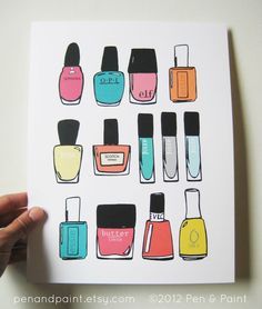 Nail Polish, Nail Art, Nail Lacquer, 8 x 10 Art Print, Colorful, I love nail polish, Mani, Manicure. $17.50, via Etsy.
