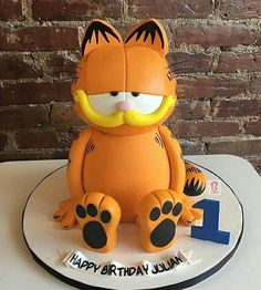 Afbeeldingsresultaat voor booba cartoon cake Pretty Cakes, Cute Cakes, Beautiful Cakes, Amazing Cakes, Bolo Garfield, Fondant Cakes, Cupcake Cakes, Happy Birthday Julian, Garfield Birthday