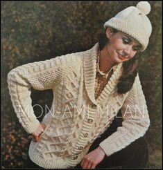 3fa4e97c2b6 Details about Vintage Knitting Pattern LADIES ARAN CABLE JACKET CARDIGAN   BOBBLE  HAT 34