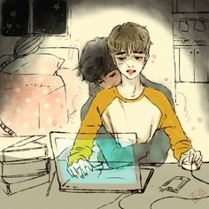 Exo, kaisoo, and fanart image Kaisoo, Kyungsoo, Kpop Drawings, Cartoon Drawings, Naruto Team 7, Exo Couple, Kpop Couples, Kpop Fanart, Disney Fan Art