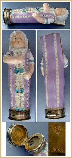 Antique Royal Copenhagen Porcelain Swaddled Baby Needle Case; Circa 1880.