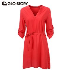 GLO-STORY Brand Women Dress 2016 Summer & Autumn Casual Dresses  Chic  Elegant Red Evening Party  Office Dresses