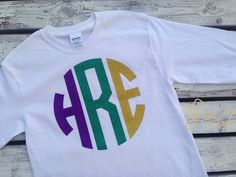 Mardi Gras Shirt Glitter Monogram Large by theMyLucyBoutique