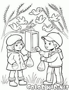 Coloring page - Children feeding birds Cool Coloring Pages, Coloring Books, Bird Sketch, Printable Coloring, Kids Cards, Line Drawing, Bird Feeders, Adult Coloring, Winter
