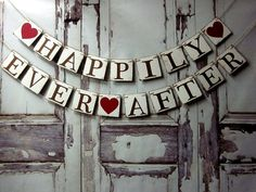 Bridal Shower Decorations Banner wedding HAPPILY EVER AFTER personalized engagement barn wedding ranch wedding country wedding on Etsy, $32.00