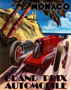 Global Gallery 'Monaco Grand Prix' by Chris Flanagan Vintage Advertisement on Wrapped Canvas – Spor Monaco Grand Prix, Car Posters, Sports Posters, Sports Art, Vintage Race Car, Vintage Ads, Automotive Art, Vintage Travel Posters, Courses