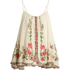 Mes Demoiselles Josephine floral-embroidered cotton top found on Polyvore featuring tops, shirts, tanks, cream multi, white floral shirt, embroidered shirts, floral tops, floral print tops and floral print shirt
