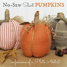 easy no sew shirt pumpkins, crafts, repurposing upcycling, seasonal holiday d cor, Super easy fun and inexpensive pumpkins made from shirts and they are no sew
