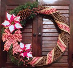 Christmas Burlap Grapevine Wreath