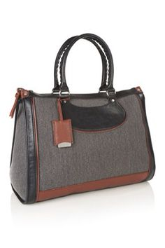 French Connection tan leather bag-morro cotton holdall