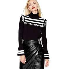 Studio by Preen black striped yoke frilly jumper in size More details via the link Roll Neck Jumpers, Knitted Fabric, No Frills, Black Stripes, Size 14, Leather Skirt, Monochrome, Studio, Cuffs